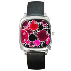 Retro Polka Dot  Square Leather Watch by OCDesignss