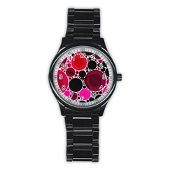 Retro Polka Dot  Sport Metal Watch (black) by OCDesignss