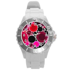 Retro Polka Dot  Plastic Sport Watch (large) by OCDesignss