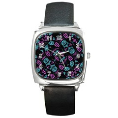 Ornate Dark Pattern  Square Leather Watch by dflcprints