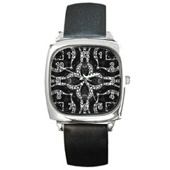 Black Onyx  Square Leather Watch by OCDesignss