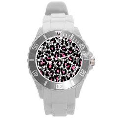 Pink Cheetah Bling Plastic Sport Watch (Large) by OCDesignss