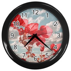 Flowers In The Sky Wall Clock (black) by dflcprints