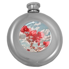 Flowers In The Sky Hip Flask (Round) by dflcprints
