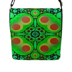 Neon Green  Flap Closure Messenger Bag (large) by OCDesignss