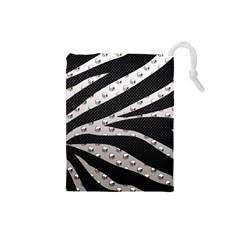 Metal Zebra  Drawstring Pouch (small)