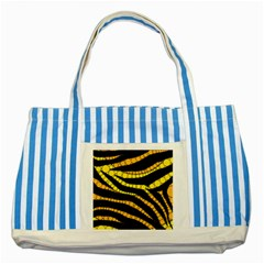 Yellow Bling Zebra  Blue Striped Tote Bag by OCDesignss