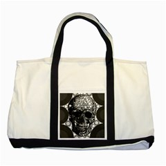 Black Skull  Two Toned Tote Bag by OCDesignss