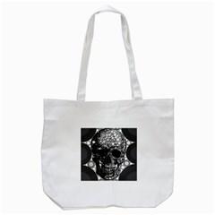 Black Skull  Tote Bag (White)