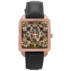 Crazy Abstract  Rose Gold Leather Watch  by OCDesignss