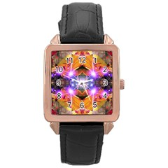 Abstract Flower Rose Gold Leather Watch  by icarusismartdesigns