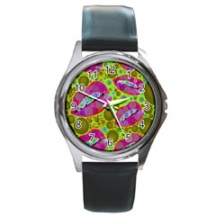 Sassy Lips Bubbles  Round Leather Watch (silver Rim) by OCDesignss