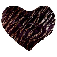 Lavender Gold Zebra  Large Flano Heart Shape Cushion by OCDesignss
