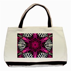 Crazy Hot Pink Zebra  Twin Sided Black Tote Bag by OCDesignss