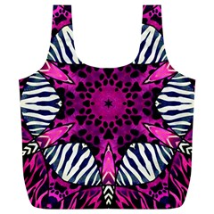 Crazy Hot Pink Zebra  Reusable Bag (XL) by OCDesignss