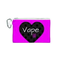 Hot Pink Vape Heart Canvas Cosmetic Bag (small) by OCDesignss