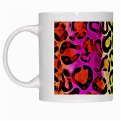 Rainbow Cheetah Abstract White Coffee Mug by OCDesignss
