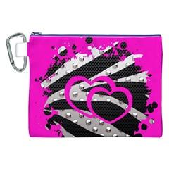 Torn Zebra Heart Canvas Cosmetic Bag (xxl) by OCDesignss