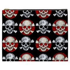 Red Black Skull Polkadots  Cosmetic Bag (xxxl) by OCDesignss