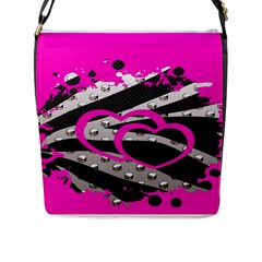 Torn Zebra Heart Flap Closure Messenger Bag (large) by OCDesignss