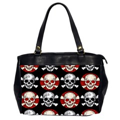 Red Black Skull Polkadots  Oversize Office Handbag (two Sides) by OCDesignss