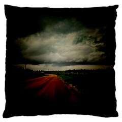 Dark Empty Road Large Cushion Case (two Sided)  by dflcprints