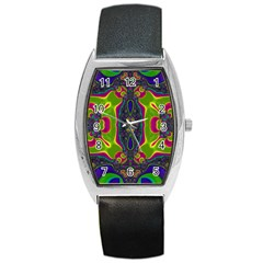 Hippie Fractal  Tonneau Leather Watch by OCDesignss