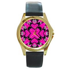 Hot Pink Glossy Round Leather Watch (gold Rim)  by OCDesignss