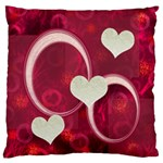 I Heart You Pink large flano cusion case - Large Flano Cushion Case (One Side)