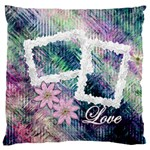 Pastel floral love large flano cusion case - Large Flano Cushion Case (One Side)