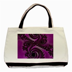 Purple Dragon Fractal  Twin Sided Black Tote Bag