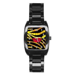 Mouthy Zebra  Stainless Steel Barrel Watch