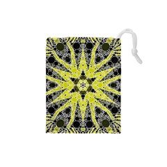 Bright Yellow Black  Drawstring Pouch (small) by OCDesignss