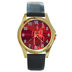 Riding At Dusk Round Leather Watch (gold Rim)  by icarusismartdesigns
