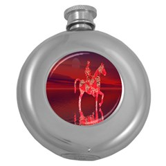 Riding At Dusk Hip Flask (round) by icarusismartdesigns