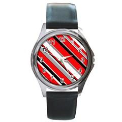Pattern Round Leather Watch (silver Rim) by Siebenhuehner