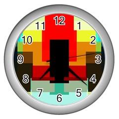 Pattern Wall Clock (silver) by Siebenhuehner