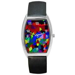 Pattern Tonneau Leather Watch by Siebenhuehner