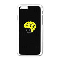 All Brains  Apple Iphone 6 White Enamel Case by OCDesignss