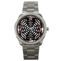Zombie Apocalypse Warning Sign Sport Metal Watch by StuffOrSomething