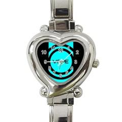 Turquoise Lines Vape   Heart Italian Charm Watch  by OCDesignss