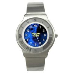 Wake&vape Blue Smoke  Stainless Steel Watch (slim) by OCDesignss