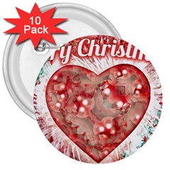Vintage Colorful Merry Christmas Design 3  Button (10 Pack) by dflcprints