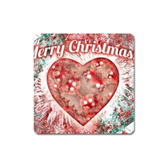 Vintage Colorful Merry Christmas Design Magnet (square) by dflcprints