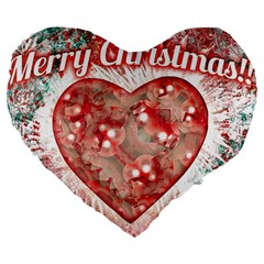 Vintage Colorful Merry Christmas Design 19  Premium Heart Shape Cushion by dflcprints