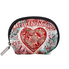 Vintage Colorful Merry Christmas Design Accessory Pouch (Small)