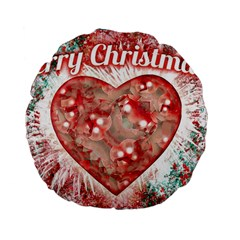 Vintage Colorful Merry Christmas Design Standard Flano Round Cushion  by dflcprints