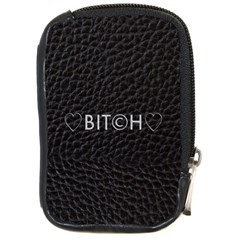 Black Bit?h Compact Camera Leather Case by OCDesignss