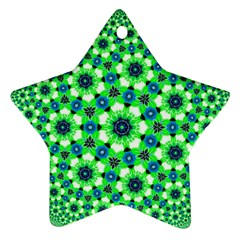 Green Flower Rosette Star Ornament (two Sides) by rosetteornaments