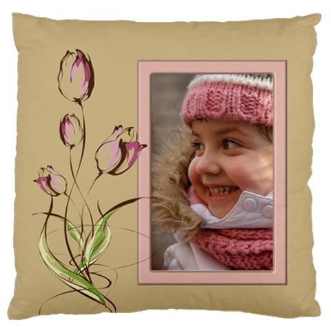 Pink Tulip Standard Flano Cushion Case By Deborah   Standard Flano Cushion Case (one Side)   M8lzypt73iw1   Www Artscow Com Front
